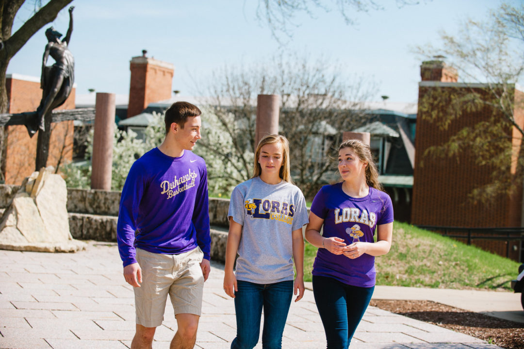 Loras Students Walking on Campus